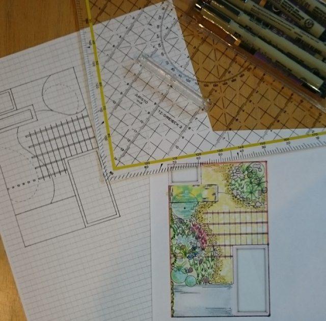 Schetsidee voor een terras in Mediterraan ontwerp