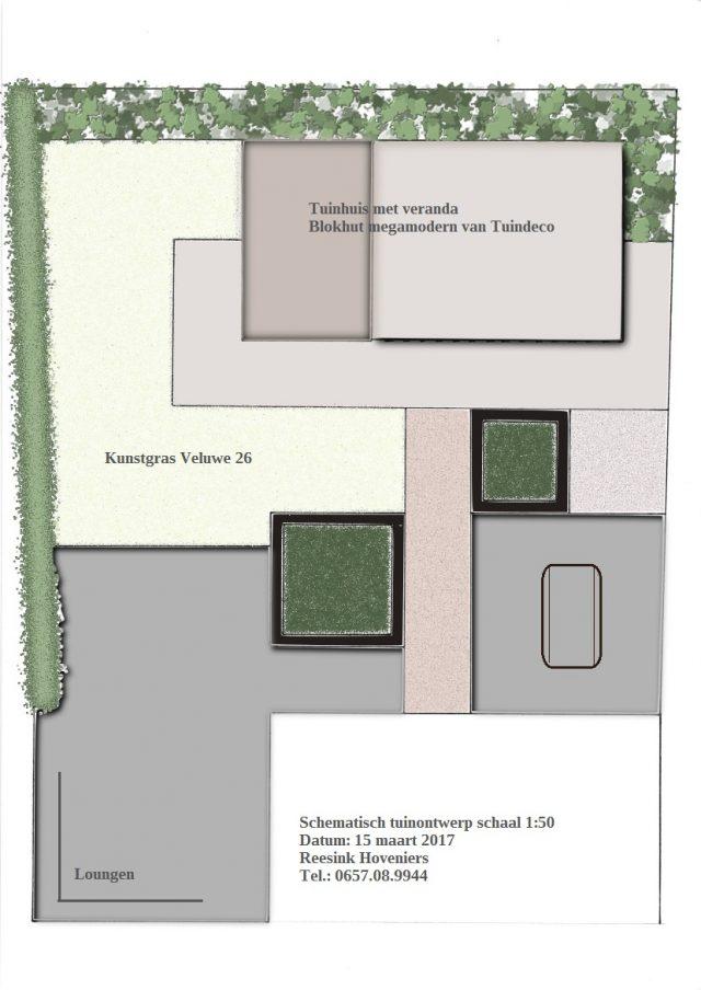 Schematisch tuinontwerp met blokhut en veranda