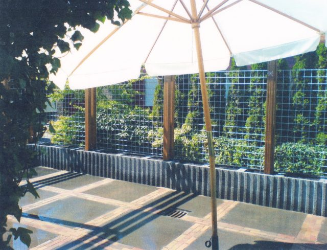 Terras aangelegd met 100x100 OH tegel antraciet